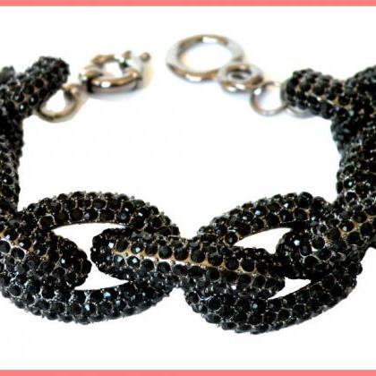 Black Chunky Pave Link Chain Classi..