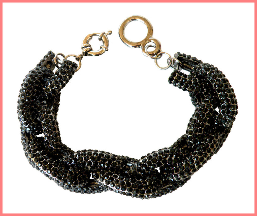 Black Chunky Pave Link Chain Classic Bracelet J Style with 1,500+ Crystals Rhinestones