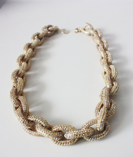 GOLD Chunky Classic Pave Link Chain Necklace J Style with 4,500+ Crystals