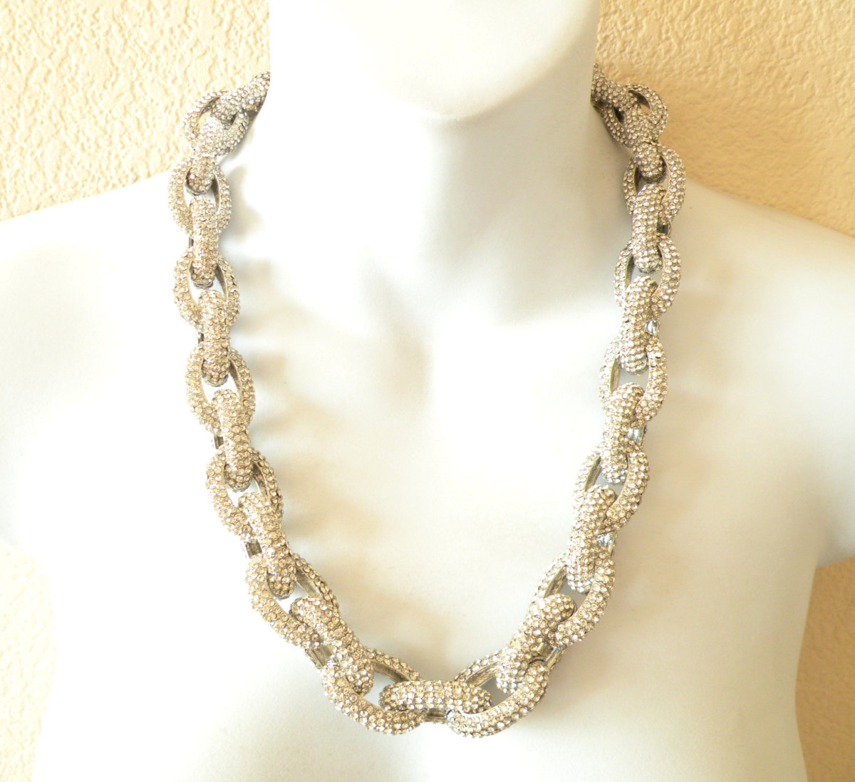 SILVER Chunky Classic Pave Link Chain Necklace J Style with 4,500+ Crystals