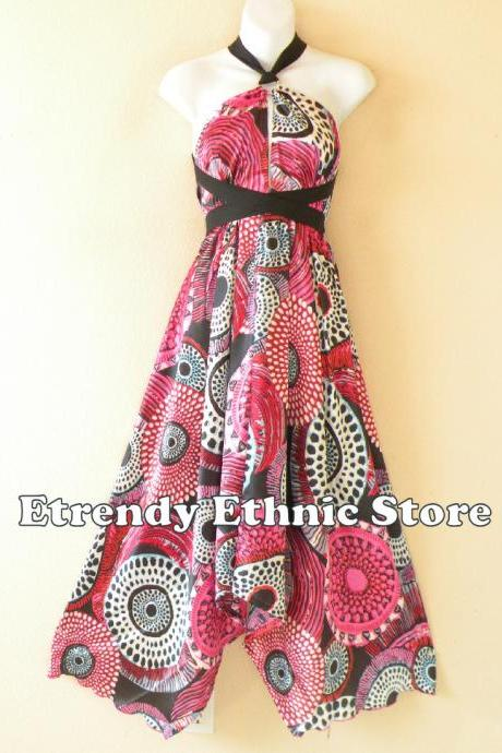 1D113 Pink Versatile Silk Multi Wear Scarf Long Maxi Halter Dress Maternity