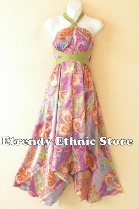 1D114 Violet Versatile Silk Multi Wear Scarf Long Maxi Halter Dress Maternity