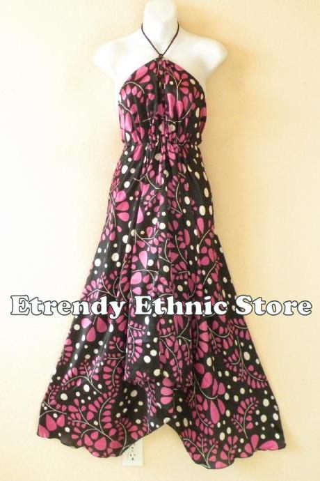 2D112 Pink Versatile Silk Multi Wear Scarf Long Maxi Halter Dress Maternity