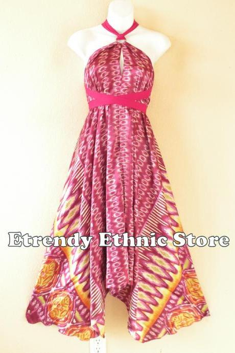 1D110 Cranberry Versatile Silk Multi Wear Scarf Long Maxi Halter Dress Maternity