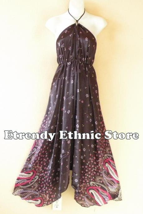2D108 Plum Versatile Silk Multi Wear Scarf Long Maxi Halter Dress Maternity