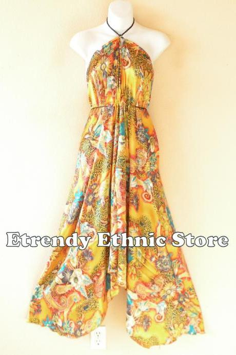 2D110 Gold Versatile Silk Multi Wear Scarf Long Maxi Halter Dress Maternity