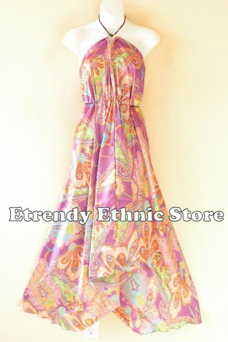 2D104 Lilac Versatile Silk Multi Wear Scarf Long Maxi Halter Dress Maternity