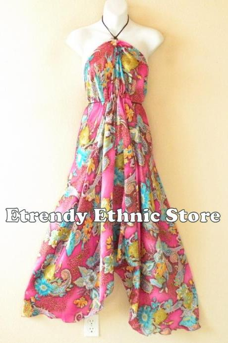2D113 Versatile Silk Multi Wear Scarf Long Maxi Halter Dress Maternity