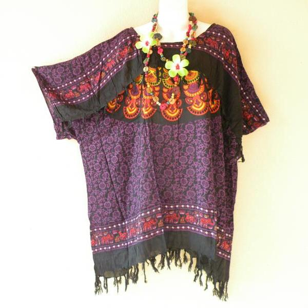 Purple Batik Plus Size Kimono Tunic Kaftan Blouse Top - 5X
